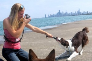 Sara and Marvel on the shore of lake Michigan just outside Chicago