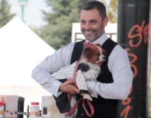 Dapper dog in ruff stitched fashion show woofstock 2017